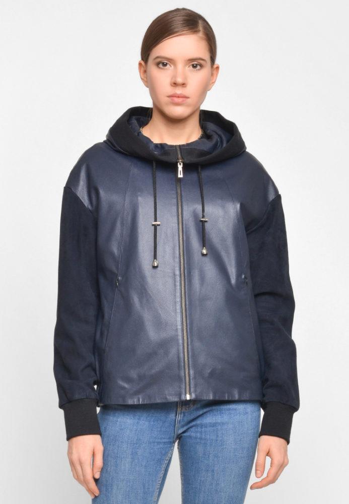 Кожаная куртка с замшевыми рукавами и капюшоном