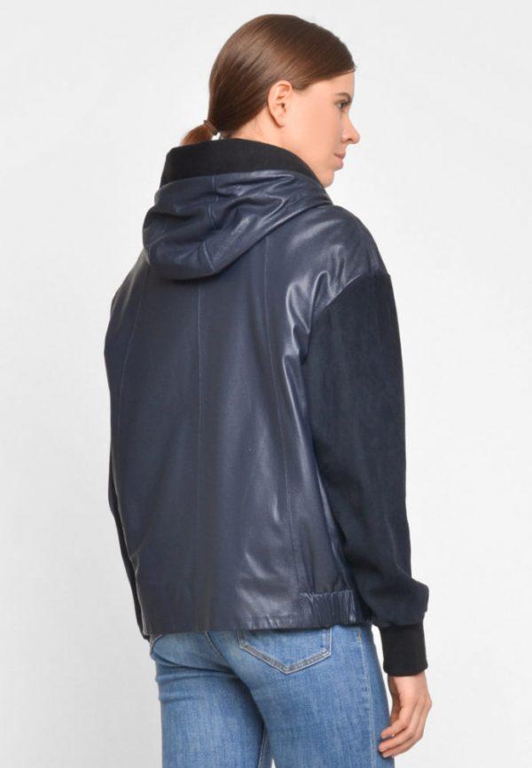 Купить Кожаная куртка с замшевыми рукавами и капюшоном