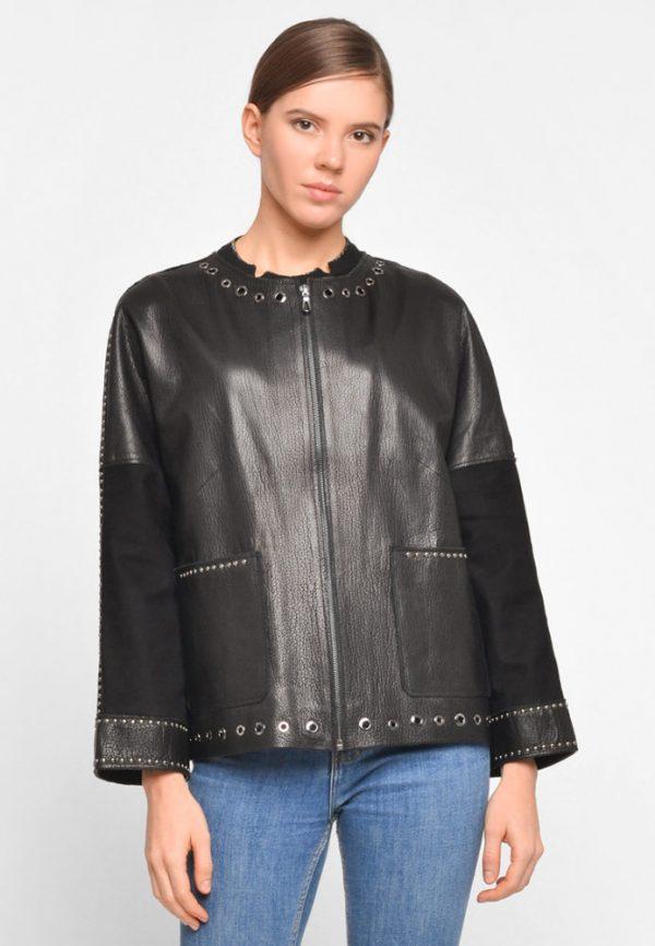 Кожаная куртка с декором из черного никеля