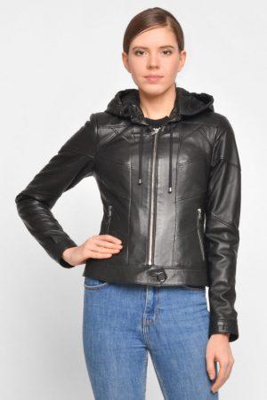 Укороченная кожаная куртка с капюшоном