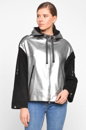 Куртка с капюшоном из натуральной кожи