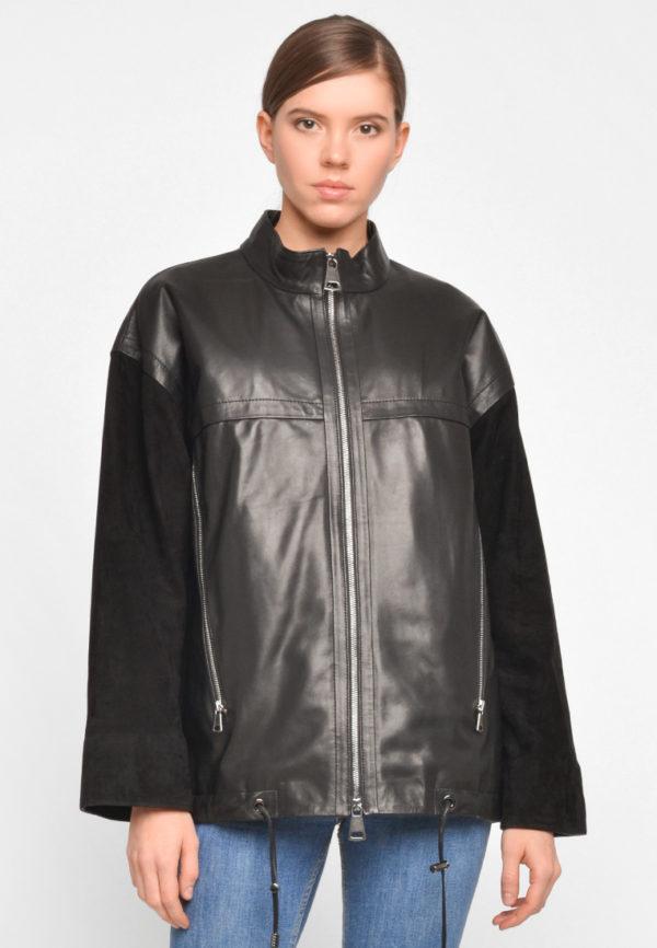 Кожаная куртка с замшевыми рукавами