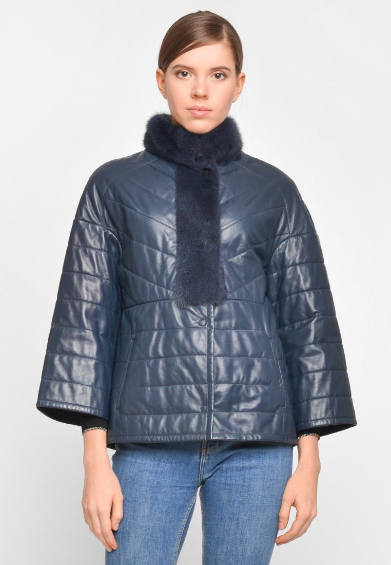 Демисезонная куртка из натуральной кожи с отделкой из норки