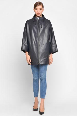 Удлиненная кожаная куртка с укороченным рукавом