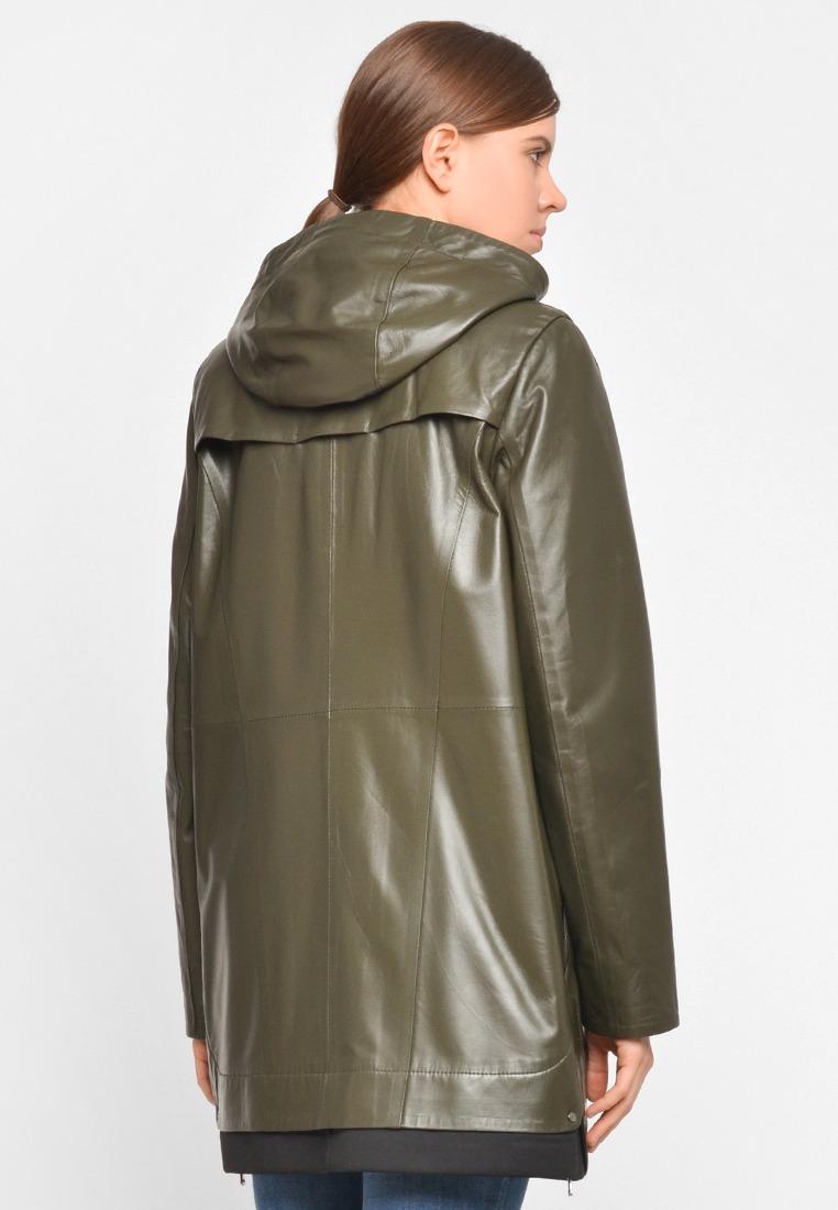 Кожаный френч с капюшоном цвета хаки
