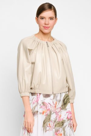 Короткая куртка-балеро из натуральной кожи