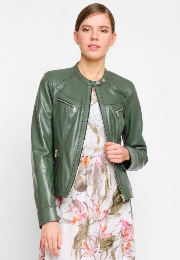 Укороченная кожаная куртка цвета базилик