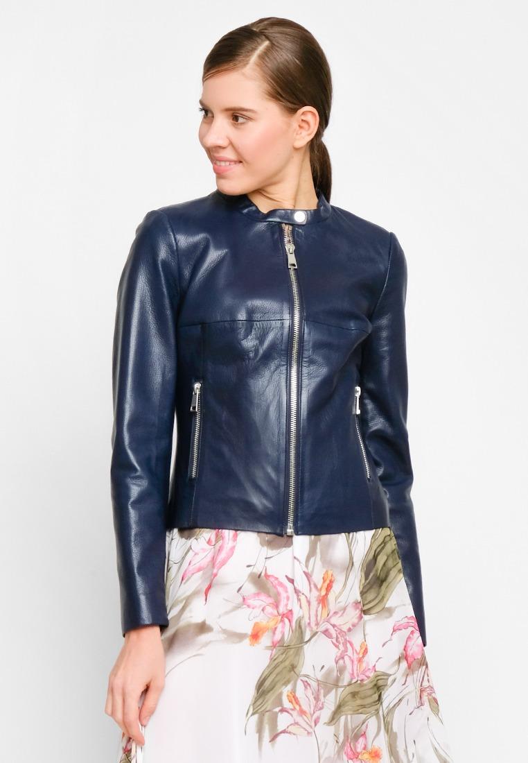 Куртка из натуральной кожи прямого силуэта