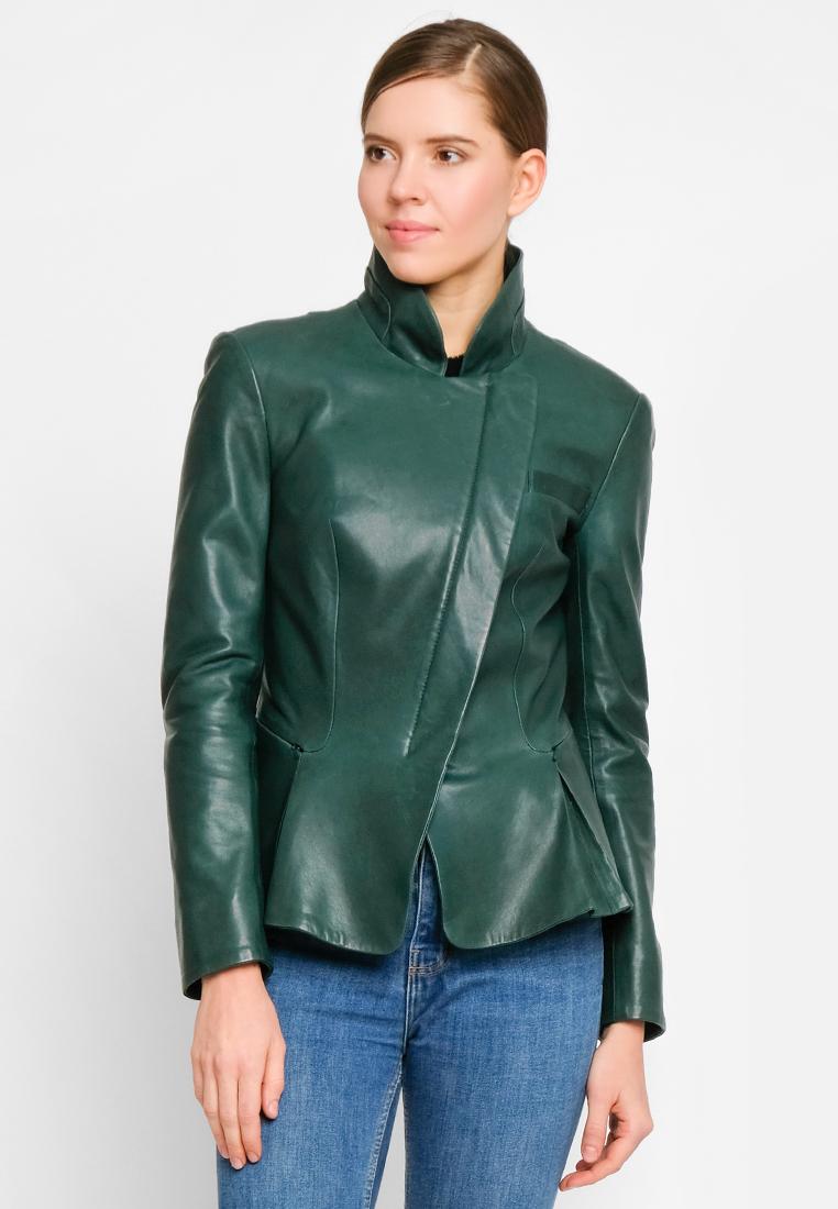 Приталенная куртка из натуральной кожи с элегантной баской