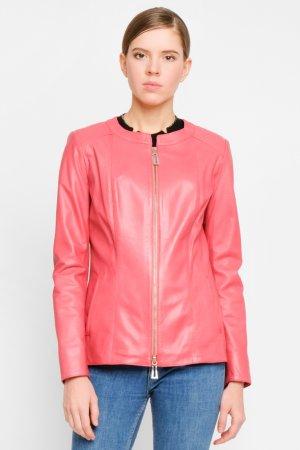 Куртка из натуральной кожи с воротом шанель