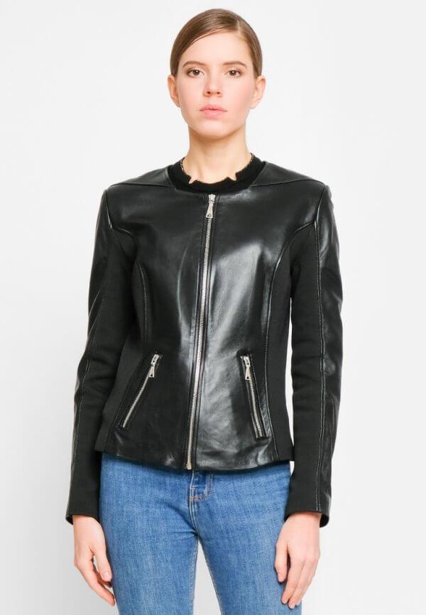 Приталенная куртка из натуральной кожи со вставками из трикотажа