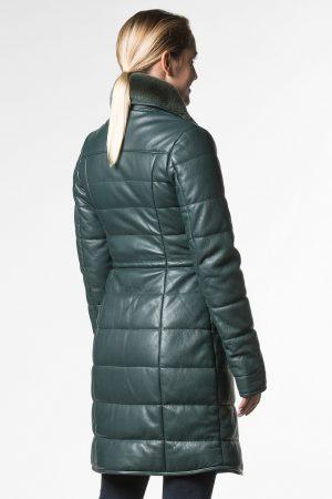 Купить Приталенное утепленное пальто из натуральной кожи