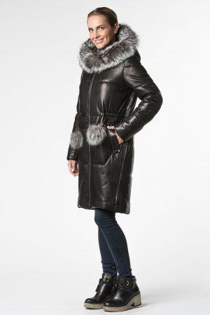 Купить Прямое утепленное кожаное пальто с капюшоном