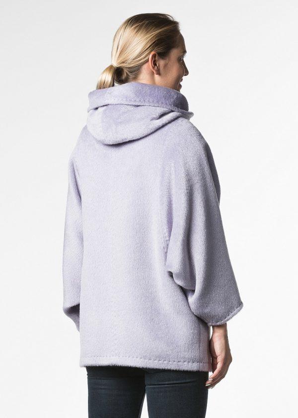 Короткое пальто альпака с капюшоном