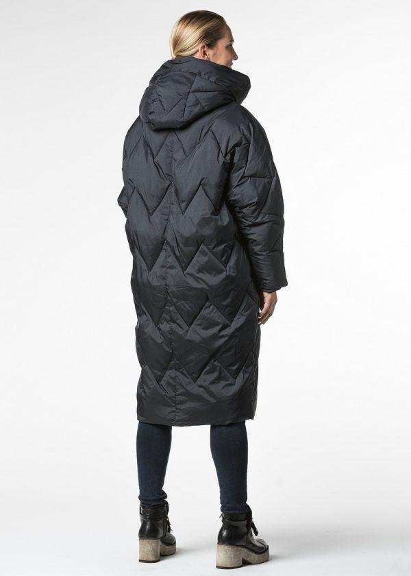 Стеганое пальто с капюшоном в стили over size