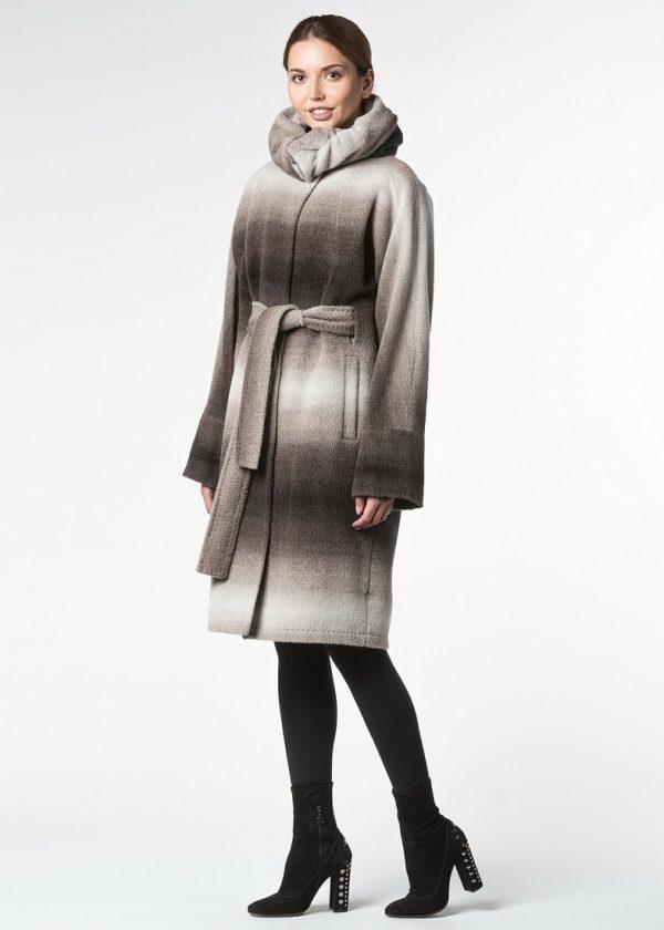 Пальто альпака со съемным воротом