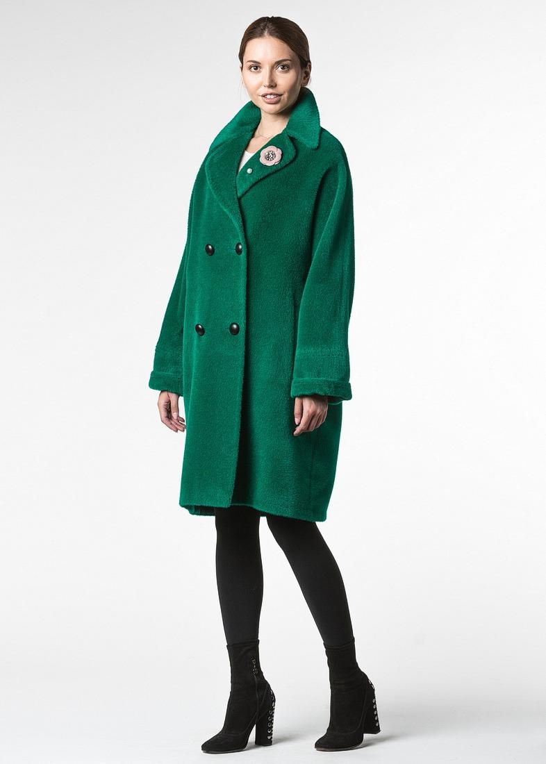 Двубортное пальто альпака ярко-зеленого цвета
