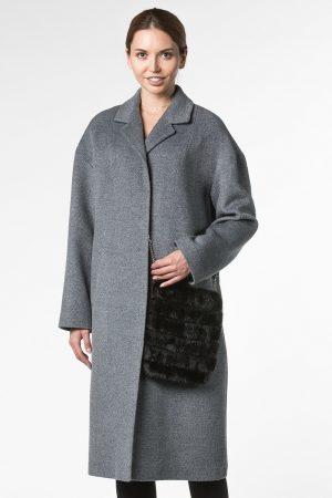 Демисезонное пальто из шерсти с сумочкой из норки