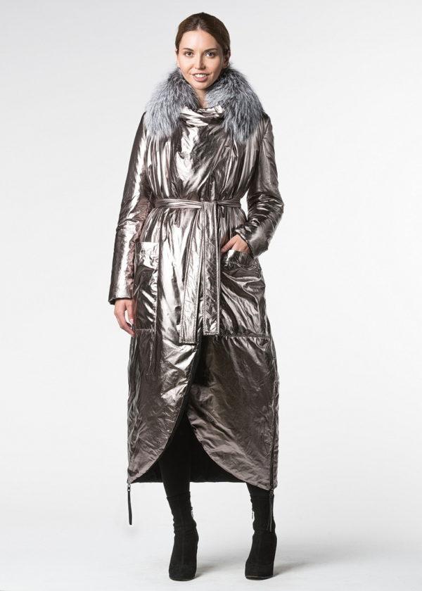 Двустороннее пальто на термосинтепоне с отделкой из чернобурой лисы