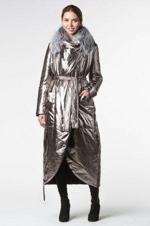 Купить Двустороннее пальто на термосинтепоне с отделкой из чернобурой лисы