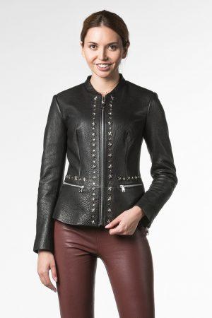 Куртка-пиджак из натуральной кожи с декором звезда