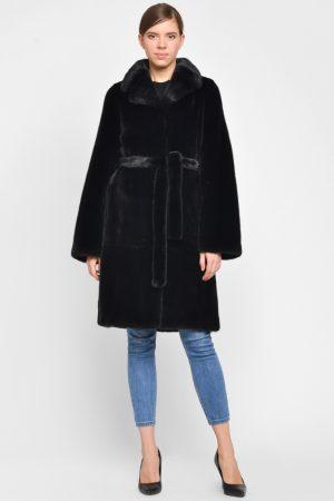 Купить Приталенное пальто с английским воротом из меха норки BLACKGLAMA