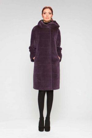 Пальто альпака с капюшоном