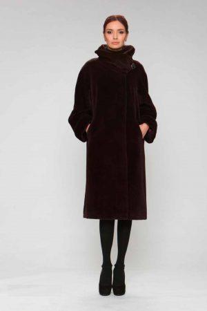 Пальто альпака с модельным воротом