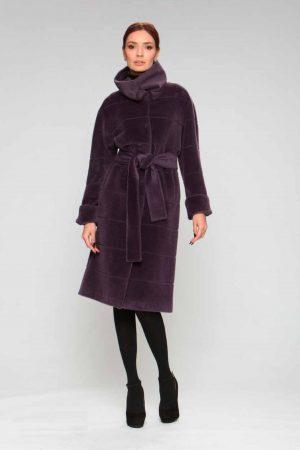 Пальто альпака с отложным воротом стойка