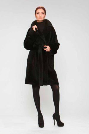 Пальто альпака с накладными карманами
