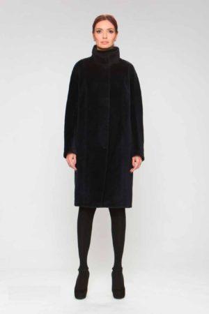 Пальто альпака с декоративной строчкой