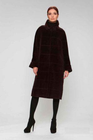 Пальто альпака с модельным воротом и манжетами