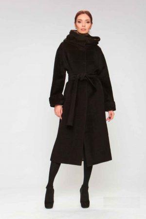 Пальто альпака с капюшоном и манжетами