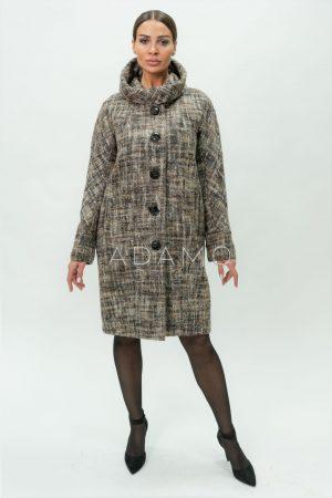 Купить Шерстяное пальто с капюшоном из фактурной ткани твид