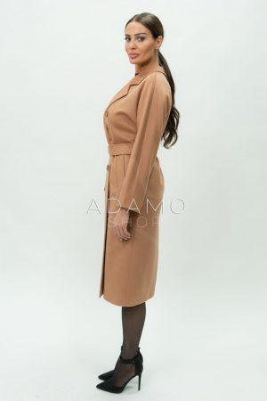 Купить Двубортное демисезонное пальто из шерсти цвета кэмел