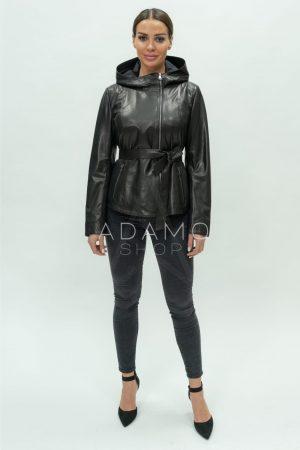 Купить Кожаная куртка с капюшоном в классическом стиле