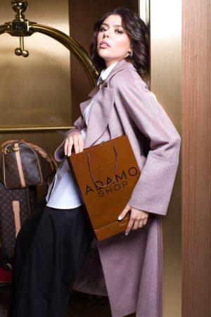 Купить Прямое классическое пальто цвета пудра