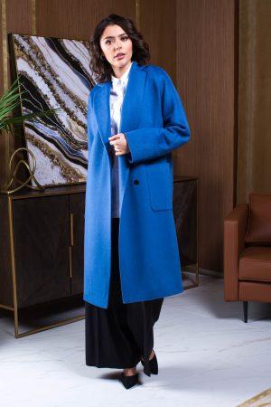 Купить Прямое пальто цвета океан с накладными карманами