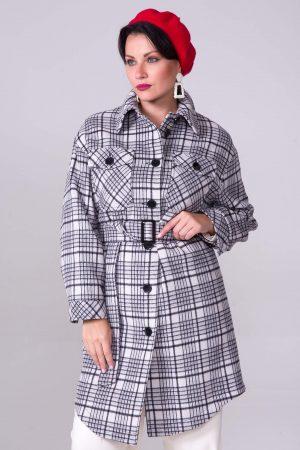 Купить Демисезонное пальто-рубашка, принт черно-белая клетка