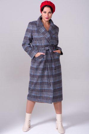 Купить Демисезонное пальто из шерсти, втачной рукав, шоколадно-голубая клетка